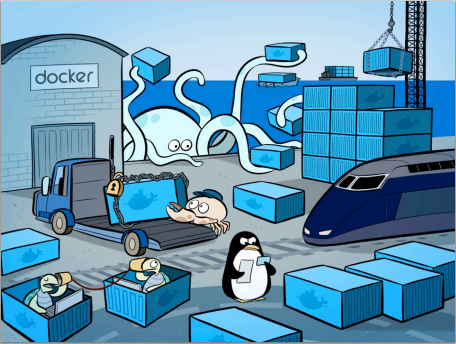 Docker ship with containers
